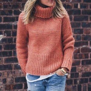 Madewell Hand Knit Italian wool Chunky Turtleneck